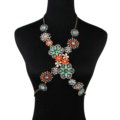 Alloy Rhinestone Flower Pendant Gem Necklace Bikini Beach Dress Decro Body Chain Jewelry - Colorful