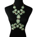 Alloy Rhinestone Flower Pendant Gem Necklace Bikini Beach Dress Decro Body Chain Jewelry - Green