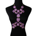 Alloy Rhinestone Flower Pendant Gem Necklace Bikini Beach Dress Decro Body Chain Jewelry - Purple