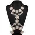 Bling Rhinestone Flower Belly Body Chain Bikini Beach Party Decro Necklace Jewelry - White