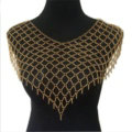 Calssic Alloy Mesh Shawl Shoulder Necklace Showgirl Body Chains Jewelry - Gun black