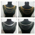 Calssic Alloy Shoulder Necklace Multilayer Tassels Body Chains Punk Jewelry - Gold