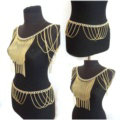 Calssic Alloy Shoulder Necklace Showgirl Tassels Belly Waist Body Chains Jewelry - Gold