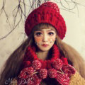 Calssic Fur Pom Poms Knitted Wool Hats Women Winter Warm Beanies Caps - Red