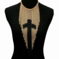 Calssic Metal Tassel Cross Chunky Bib Necklace Punk Dress Decor Jewelry - Gold