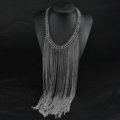 Calssic Metal Tassel Long Chunky Bib Necklace Punk Dress Decor Jewelry - Sliver