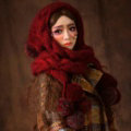 Calssic Twist Knitted Wool Caps Women Winter Long Fur Ball Bib Hooded Scarf Hats - Dark Red