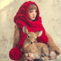 Calssic Twist Knitted Wool Caps Women Winter Long Fur Ball Bib Hooded Scarf Hats - Red