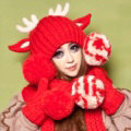 Cute Christmas Antlers Knitted Wool Beanies Caps Winter Warm Devil Ears Fur Ball Hats - Red