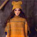 Cute Girls Bear Ears Flanging Knitted Wool Hats Winter Warm Thicken Beanies Caps - Yellow