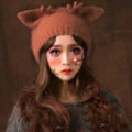 Cute Girls Cat Ears Antlers Knitted Wool Hats Winter Warm Rabbit Fur Beanies Caps - Brown