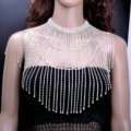 Elegant Bridal Rhinestone Tassel Shoulder Chain Necklace Dress Decor Jewellry - Silver