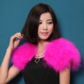 Elegant Real Ostrich Fur Bridal Wedding Shawls Women Winter Warm Wraps Cape - Rose