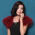 Elegant Real Ostrich Fur Bridal Wedding Shawls Women Winter Warm Wraps Cape - Wine Red