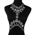 Elegant Women Crown Crystal Pendant Necklace Evening Party Dress Decro Body Chain - White