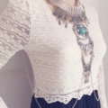 Exaggerate National Style Semi Precious Stones Body Chains Harness Necklace Jewelry - Sliver