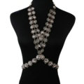 Exaggerate Rhinestone Long Pendant Necklace Bikini Dinner Party Body Chains Jewelry - White