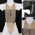 Exaggerated Long Rhinestone Pendants Necklace Dinner Party Dress Decor Jewelry - Gold