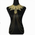 Fashion Belly Waist Body Chain Sexy Tassel Lace Leaves Choker Necklace Jewelry - Gold