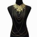Fashion Belly Waist Body Chain Tassel Lace Flower Crystal Choker Necklace Jewelry - Gold