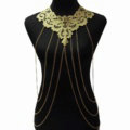 Fashion Belly Waist Body Chain Tassel Lace Hollow Flower Choker Necklace Jewelry - Gold