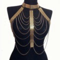 Fashion Body Chain Club Dance Tassel Alloy Punk Long Necklace Pendants Jewelry - Gold