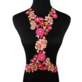 Fashion Crystal Flower Pendant Necklace Bikini Beach Dress Decro Body Chain Jewelry - Rose