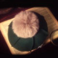 Fashion Flower Diamond Knitted Wool Hats Winter Warm Fox Fur Pom Poms Beanies Caps - Green