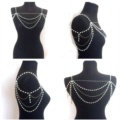Fashion Pearl Shoulder Necklace Multilayer Tassels Body Chains Bride Jewelry - Sliver