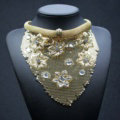Fashion Rhinestone Flower Collar Chunky Necklace Scarf Dress Decor Jewelry - Gold
