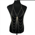 Fashion Stunning Bikini Alloy Body Chain Bra Slave Harness Necklace Jewelry - Gold