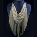 Fashion Triangle Tassel Collar Necklace Scarf Showgirl Dress Decor Jewelry - Gold