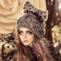 Fashion Veil Mash Bowknot Pearl Knitted Wool Hats Women Winter Warm Beanies Caps - Gray
