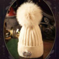 Fashion Women Diamond Elephant Knitted Wool Hats Winter Fox Fur Pom Poms Caps - Beige