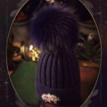 Fashion Women Diamond Elephant Knitted Wool Hats Winter Fox Fur Pom Poms Caps - Blue