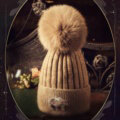 Fashion Women Diamond Elephant Knitted Wool Hats Winter Fox Fur Pom Poms Caps - Camel