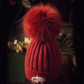 Fashion Women Diamond Elephant Knitted Wool Hats Winter Fox Fur Pom Poms Caps - Deep Red