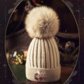 Fashion Women Diamond Elephant Knitted Wool Hats Winter Fox Fur Pom Poms Caps - Gray