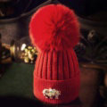 Fashion Women Diamond Elephant Knitted Wool Hats Winter Fox Fur Pom Poms Caps - Red