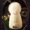 Fashion Women Diamond Elephant Knitted Wool Hats Winter Fox Fur Pom Poms Caps - White