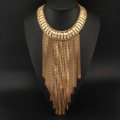 Fashion Women Long Tassel Metal Collar Necklace Punk Sweater Decor Chain - Gold