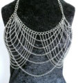 HOT SALE Fashion Necklace Layers Bikini Breast Bra Body Chains Jewelry - Sliver