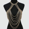 Hot Sexy Body Chain Alloy Bargirl Bikini Bra Slave Harness Long Bib Necklace Jewelry - Gold