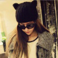 Lovely Girls Devil Horns Cat Ears Knitted Wool Hats Winter Warm Beanies Caps - Black