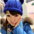 Lovely Girls Devil Horns Cat Ears Knitted Wool Hats Winter Warm Beanies Caps - Blue