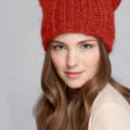 Lovely Girls Devil Horns Cat Ears Knitted Wool Hats Winter Warm Beanies Caps - Red