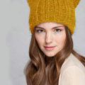 Lovely Girls Devil Horns Cat Ears Knitted Wool Hats Winter Warm Beanies Caps - Yellow