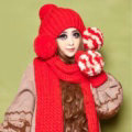 Lovely Merry Christmas Fur Ball Knitted Wool Beanies Caps Women Winter Warm Hats - Red