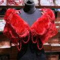 Luxury Beaded Lace Faux Rabbit Fur Bridal Shawls Women Winter Warm Wraps Cape - Red