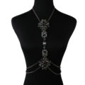 Luxury Crystal Flower Belly Body Chain Dinner Party Decro Pendant Necklace Jewelry - Black